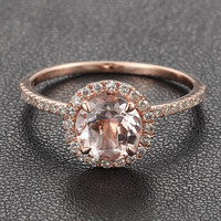 14K Rose Gold Halo Pave Diamond Engagement by IturraldeDiamonds