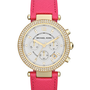 Michael Kors  Mid-Size Pink Leather Parker Chronograph Glitz Watch