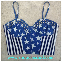 Studded Bustier Crop Top  Denim Stars &amp; Stripes  by ShopChicStud