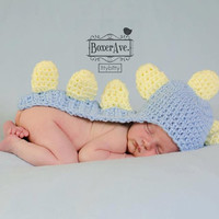 Boy Dino Newborn Hat Cape - Blue and Green Spikes, Ready to ship - Newborn Photography Props