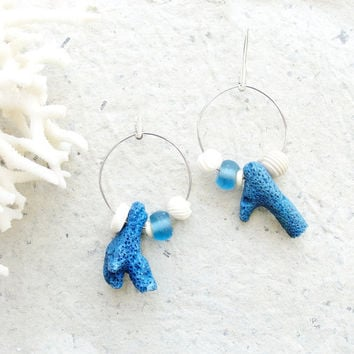 Asymmetric Deep Blue Sea - Coral and Bone Earrings