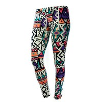 Womens Plus Size Clothing Printed Full Length Leggings, Multicolor Tribal Print