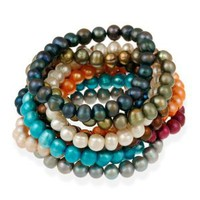 Genuine Freshwater Cultured 8x6mm Multi Color Pearl Stretch Bracelets (Set of 10): Jewelry: Amazon.com