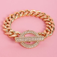 Ring and Shine Gold Rhinestone Bracelet