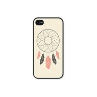 Dreamcatcher Apple iPhone 4 Case - Plastic iPhone 4 Skin - Tribal Southwest iPhone 4 Cover - Cream Peach Brown Black Cell Phone