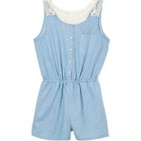 Teens Blue Polka Dot Crochet Back Playsuit