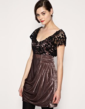 ASOS | ASOS PREMIUM Lace and Velvet Drape Dress at ASOS