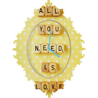 DENY Designs Home Accessories | Happee Monkee All You Need Is Love 1 Baroque Clock
