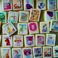 1 Dozen Vintage Vogue and Harper's Bazaar Fashion Magazine Cookies