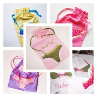 Custom Bridesmaid Bride Bachelorette Gifts -4 Lingerie Bags of Choice