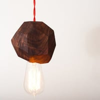 Chunk - Solid Walnut Pendant Light w/ Edison Bulb by Dylan Design Company