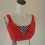 Checker Zip Red Workout Sports Bra
