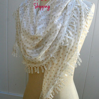 White Lace Scarf Turk Scarf  FREE SHIPPING  Floral Fashion Summer Scarves - by PIYOYO