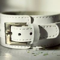 Spring Gift Fashion Natural White real Leather Cuff for wristband watch, metal buckle, vegetable tanned leather C-17