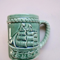 Vintage Ship Ceramic Coffee Mug 1950s