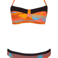 Orange Aztec Bandeau Bikini - Swimwear  - Clothing