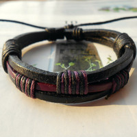 Spring Gift Fashion Multilayer Black Purple Leather Cuff and Cotton cords Adjustable Wrap Bracelet M-68