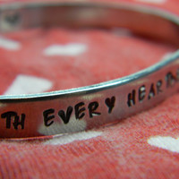 with every heartbeat cardiogram aluminum bracelet 1/4 inch wide
