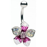 Glitz and Glamour Tropical Flower Belly Ring: Home &amp; Kitchen