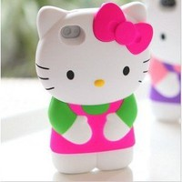 3d Sanrio- Hello Kitty Case/cover/protector Pink Ribbon with Light Green & Pink Outfit Fits All Models of Iphone 4 & 4s: Cell Phones & Accessories