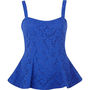 Blue lace flute hem peplum top - peplum tops - tops - women