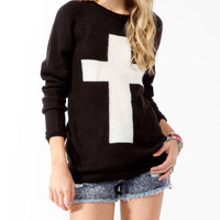 Contrast Cross Longline Sweater