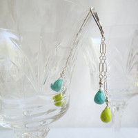 Turquoise Dangle Earrings Neon Green/ Sky Blue/ by seemomster