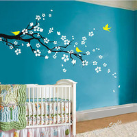cherry blossom wall decals flower vinyl wall decal tree nursery wall decals sticker children white wall decal-plum blossom with Flying Birds