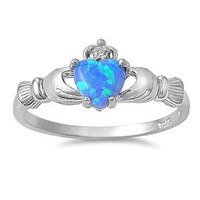 Amazon.com: Rhodium Plated Sterling Silver Wedding & Engagement Ring Blue Lap Opal Claddagh Ring 9MM ( Size 3 to 10): Jewelry
