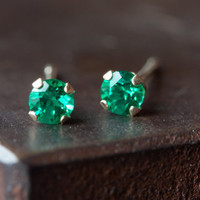Teensy Emerald Studs- 14kt gold