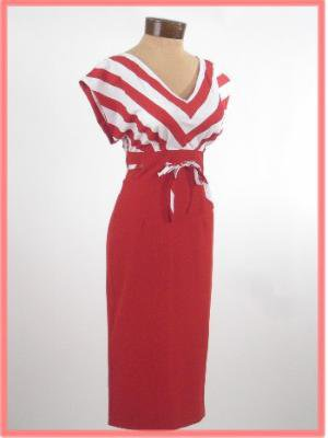 Red Nautical Inspired Pencil Dress-Bettie Page 50&#x27;s Pinup Style Wiggle Dress