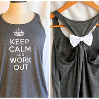 Grey Keep Calm and Work Out Flowy  SMALL by personTen on Etsy