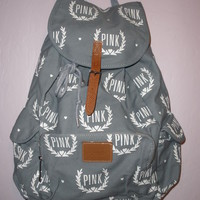 Victoria's Secret PINK Gray/White Crest Arrow Heart Backpack/Bookbag NWT