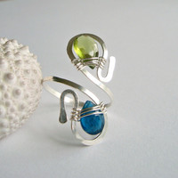 Blue Green Gemstone Ring, Adjustable Wire Ring, Peridot Apatite Wire Ring, Wire Wrapped, Hammered Sterling Silver:  Two-Headed Snake