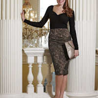 Lace Jacquard Pencil Skirt by Pepperberry