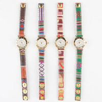 Ethnic Print Strap Watch