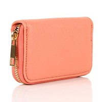 Peach Zipper Card Holder Wallet