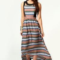 Hollie Geo Print Contrast Trim Maxi Dress