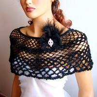 Hand Crochet Black Shaw Bridesmaid Gifts LaceFashion by Pasin