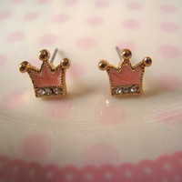 Crown Earrings Studs Pink by Bitsofbling on Etsy