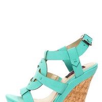 Yoki Celia 12 Teal Sun Cross T-Strap Platform Wedge Sandals