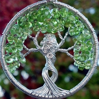 Mother Nature Tree of Life Pendant - Recycled Sterling Silver and Peridot Tree Goddess