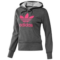 adidas Trefoil Hoodie Dark Grey Heather/Super Pink XS: Clothing