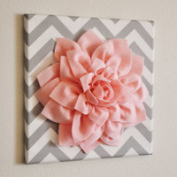 Wall Flower -Light Pink Dahlia on Gray and White Chevron 12 x12&quot; Canvas Wall Art- Baby Nursery Wall Decor-