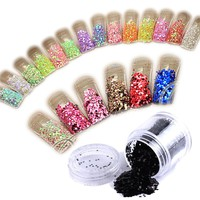 12x Box Mixcolor Glitter Powder Dust Nail Art Tip Decoration