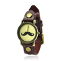 Vintage Red Leather Moustache Watch