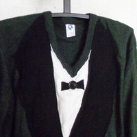 Recycled Sweater Mens Tuxedo Large Steampunk Bow Tie Neo Victorian Bohemian Hippie Eco Friendly Tux Fashion Hipster Upcycled Clothing