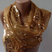 Golden Turkish Shawl Scarf Golden Shawl by womann on Etsy