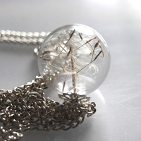 Real Dandelion Necklace Glass Bead Orb by NaturalPrettyThings