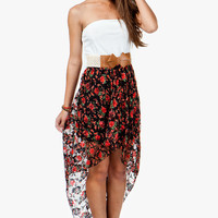 A&#x27;GACI Floral Printed Lace Hi Lo Dress W/ Bow Belt - DRESSES